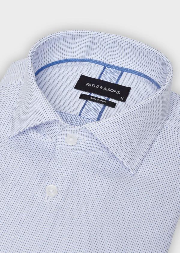 Chemise habillée Slim en coton façonné à pois bleus - Father and Sons 38349