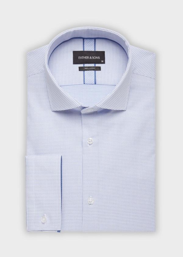 Chemise habillée Slim en coton façonné à pois bleus - Father and Sons 38347