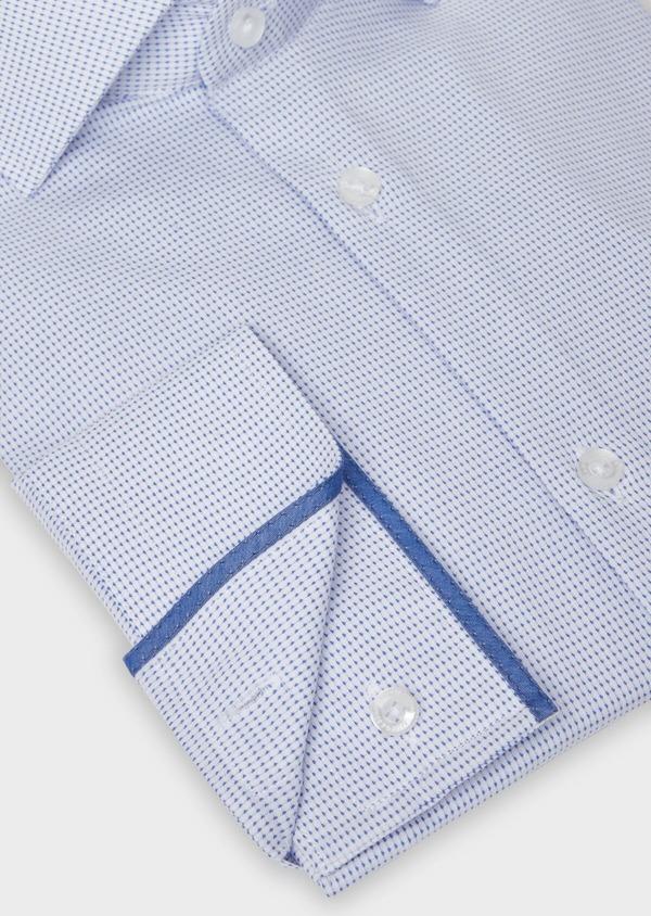 Chemise habillée Slim en coton façonné à pois bleus - Father and Sons 38350