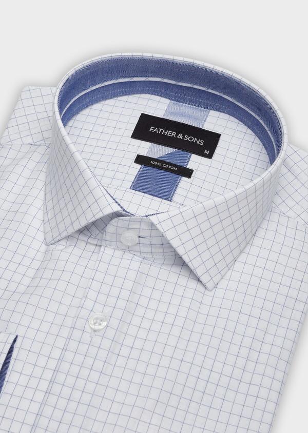 Chemise habillée Slim en popeline de coton blanc à carreaux - Father and Sons 38337