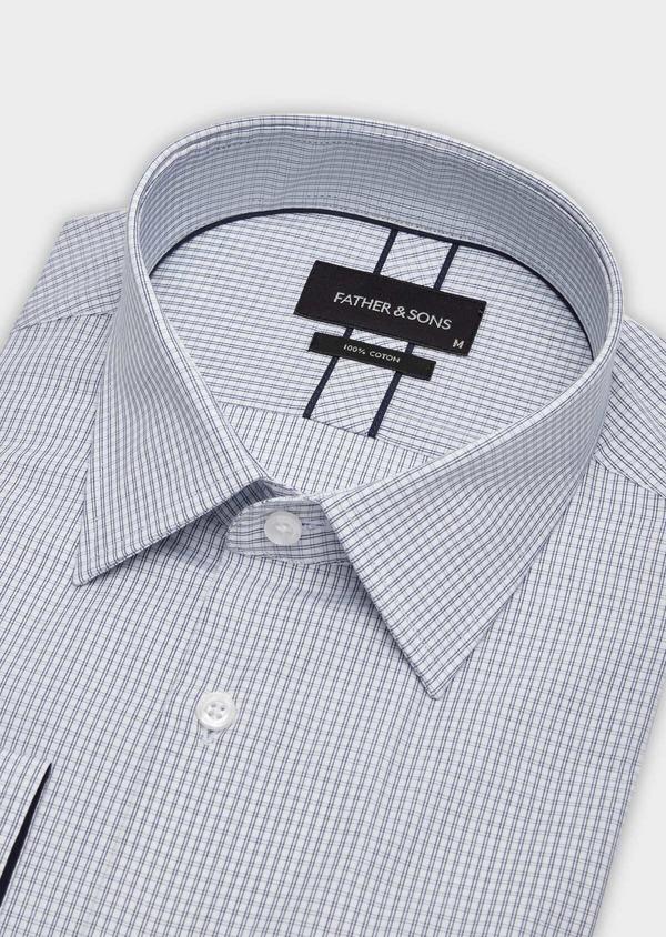 Chemise habillée Slim en popeline de coton blanc à carreaux - Father and Sons 38369