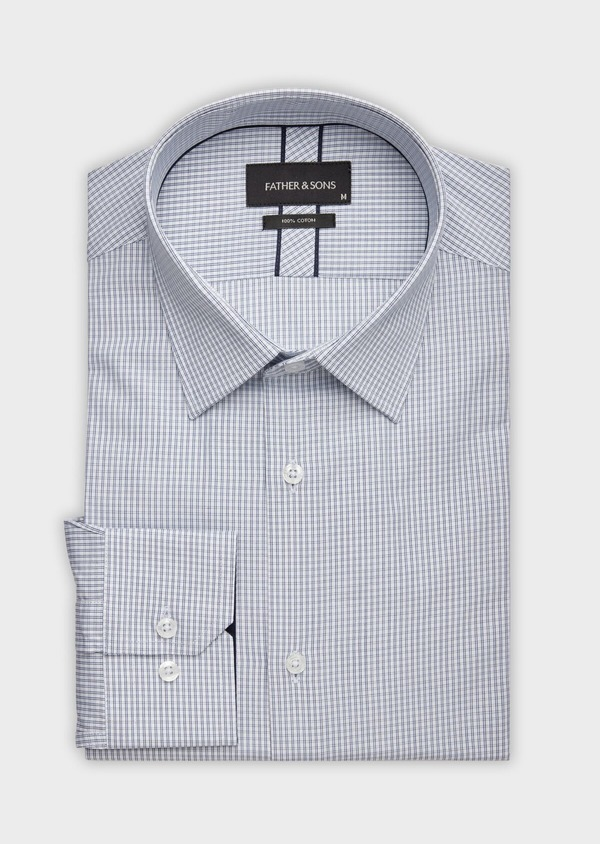 Chemise habillée Slim en popeline de coton blanc à carreaux - Father and Sons 38367