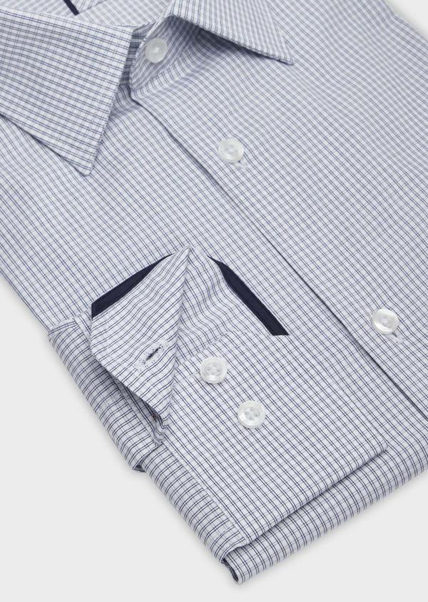 Chemise habillée Slim en popeline de coton blanc à carreaux - Father and Sons 38370