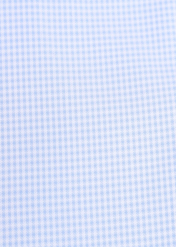 Chemise habillée Slim en coton façonné bleu ciel à carreaux blancs - Father and Sons 34881