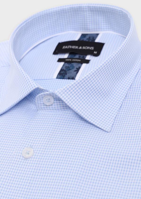 Chemise habillée Slim en coton façonné bleu ciel à carreaux blancs - Father and Sons 34882