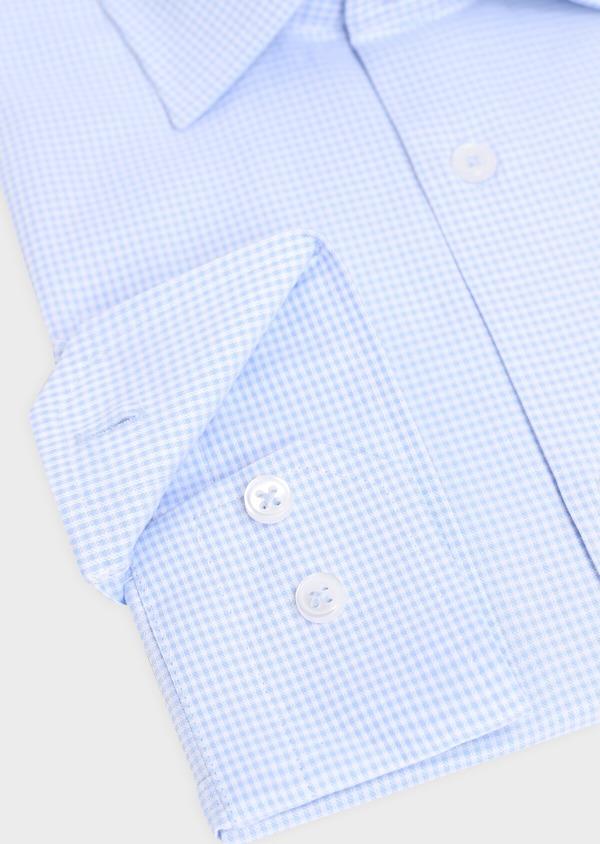 Chemise habillée Slim en coton façonné bleu ciel à carreaux blancs - Father and Sons 34883