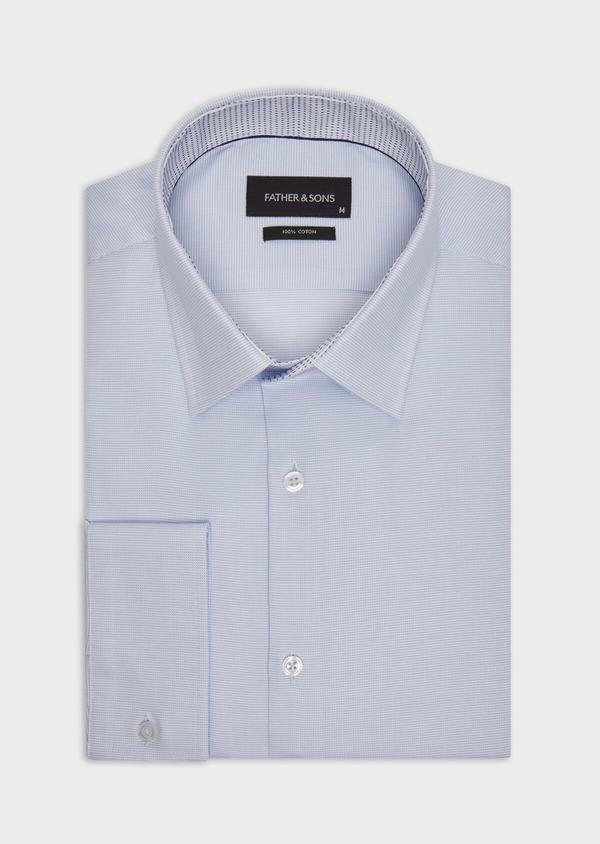 Chemise habillée Slim en coton façonné bleu ciel à motifs  géométriques - Father and Sons 36669