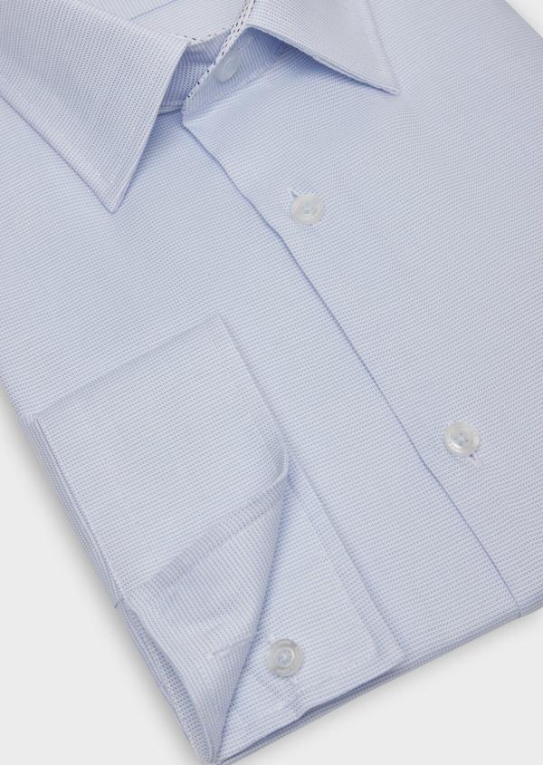 Chemise habillée Slim en coton façonné bleu ciel à motifs  géométriques - Father and Sons 36672