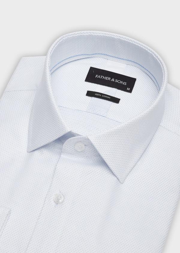 Chemise habillée Slim en façonné de coton blanc à pois bleu ciel - Father and Sons 38992