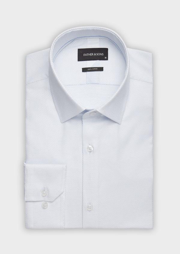 Chemise habillée Slim en façonné de coton blanc à pois bleu ciel - Father and Sons 38990