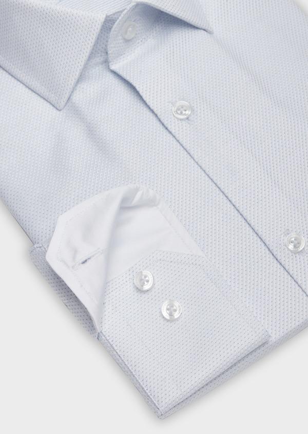 Chemise habillée Slim en façonné de coton blanc à pois bleu ciel - Father and Sons 38993