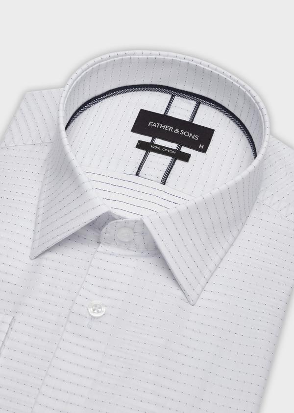 Chemise habillée Slim en coton façonné blanc à pois bleus - Father and Sons 38361