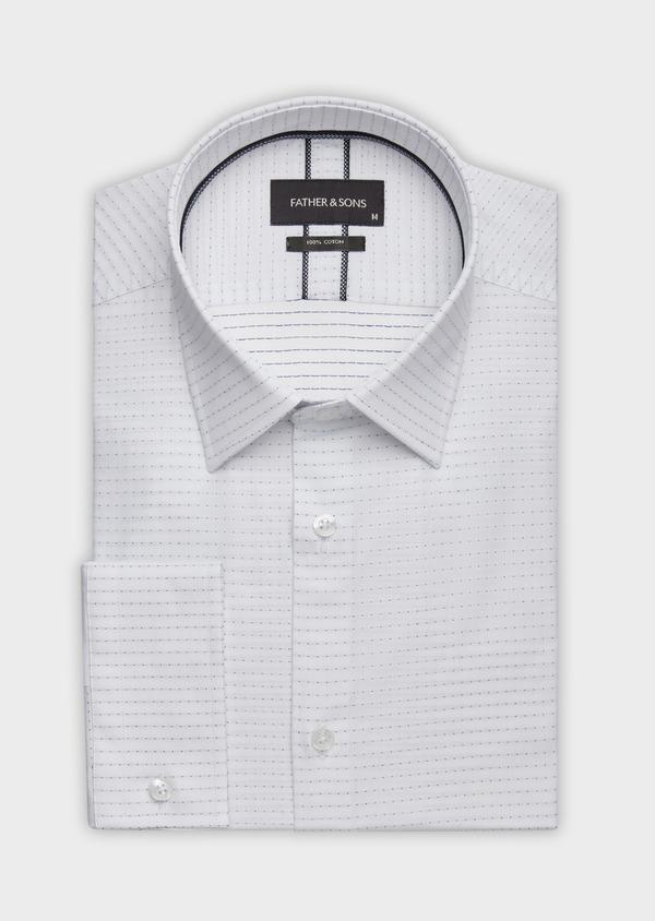 Chemise habillée Slim en coton façonné blanc à pois bleus - Father and Sons 38359