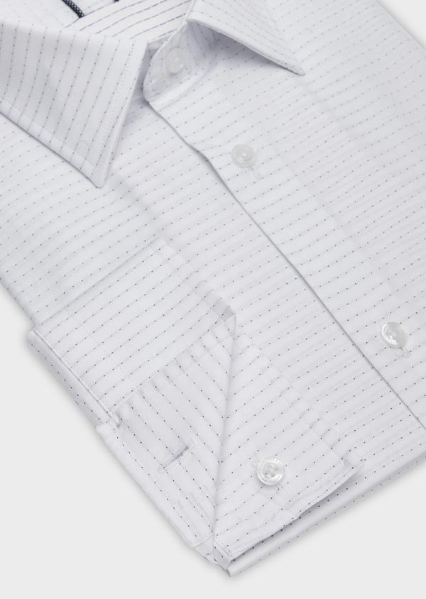 Chemise habillée Slim en coton façonné blanc à pois bleus - Father and Sons 38362