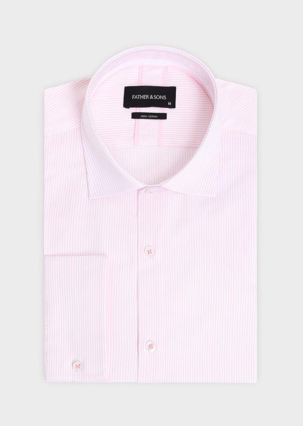 Chemise habillée Slim en coton Jacquard à rayures roses et blanches - Father and Sons 34904