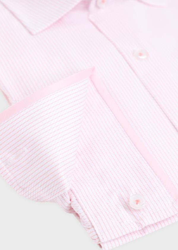 Chemise habillée Slim en coton Jacquard à rayures roses et blanches - Father and Sons 34907