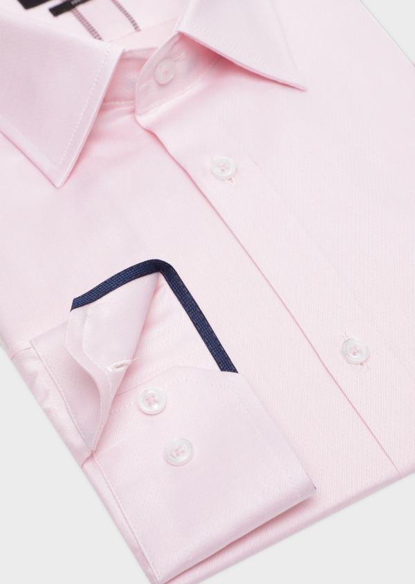 Chemise habillée Slim en twill de coton rose pâle à pois ton sur ton - Father and Sons 34979