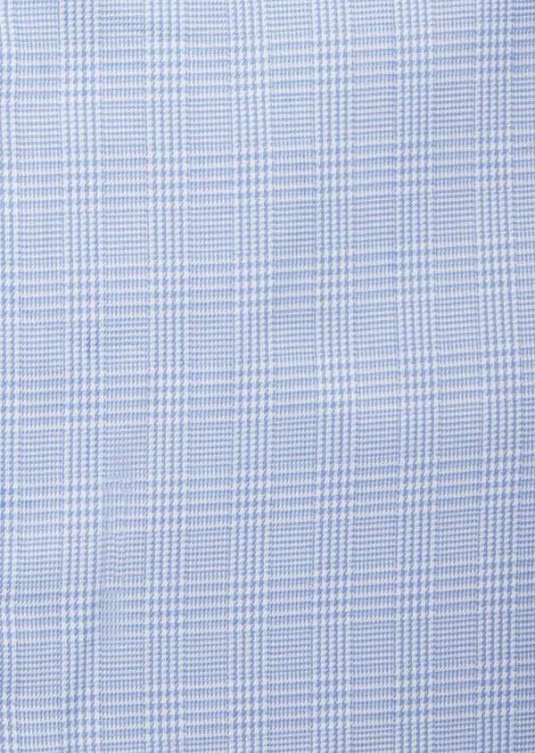 Chemise habillée Slim en popeline de coton à motif Prince de Galles bleu - Father and Sons 38388