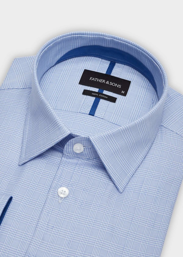 Chemise habillée Slim en popeline de coton à motif Prince de Galles bleu - Father and Sons 38389