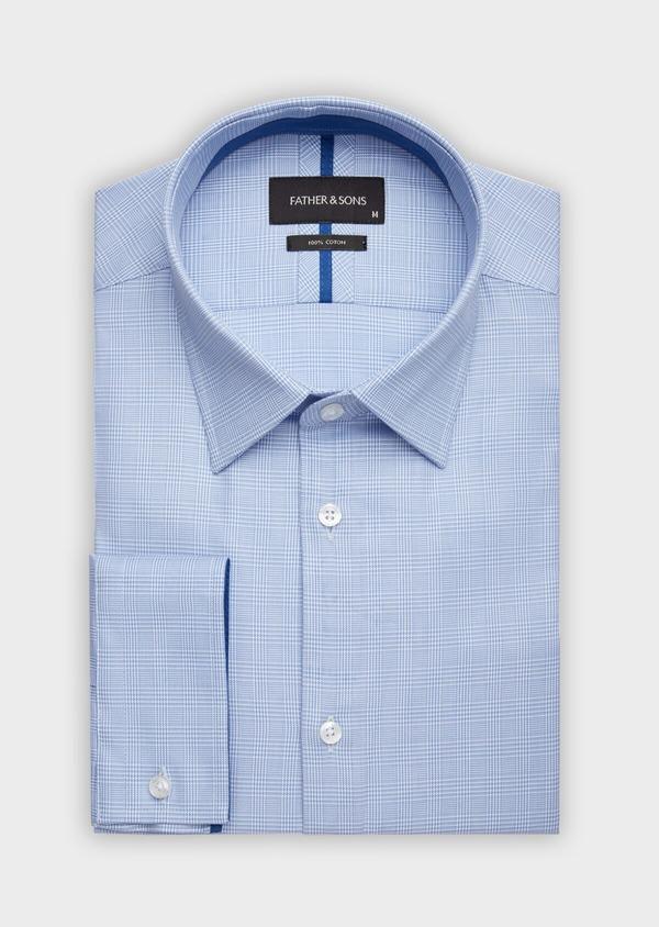 Chemise habillée Slim en popeline de coton à motif Prince de Galles bleu - Father and Sons 38387