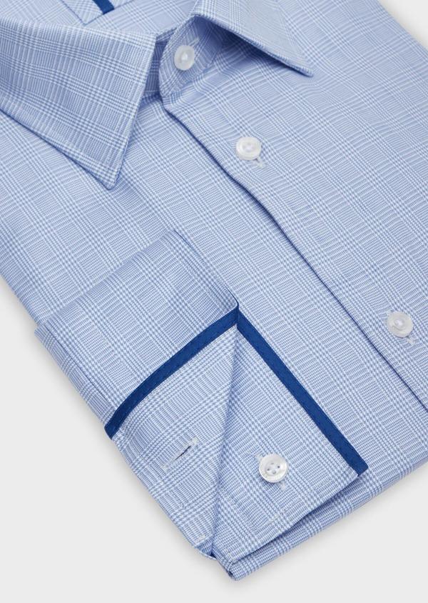Chemise habillée Slim en popeline de coton à motif Prince de Galles bleu - Father and Sons 38390