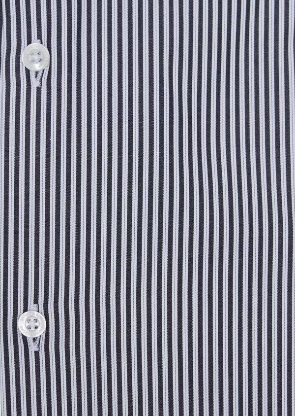 Chemise habillée Slim en popeline de coton blanc à rayures gris anthracite - Father and Sons 34917