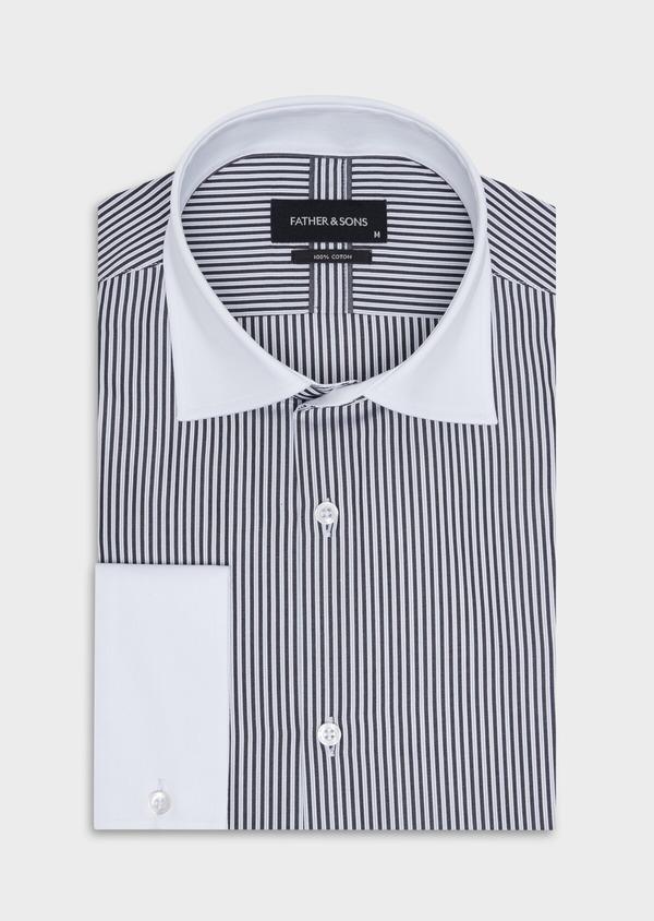 Chemise habillée Slim en popeline de coton blanc à rayures gris anthracite - Father and Sons 34916