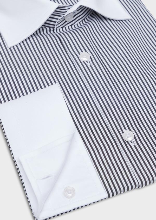 Chemise habillée Slim en popeline de coton blanc à rayures gris anthracite - Father and Sons 34919