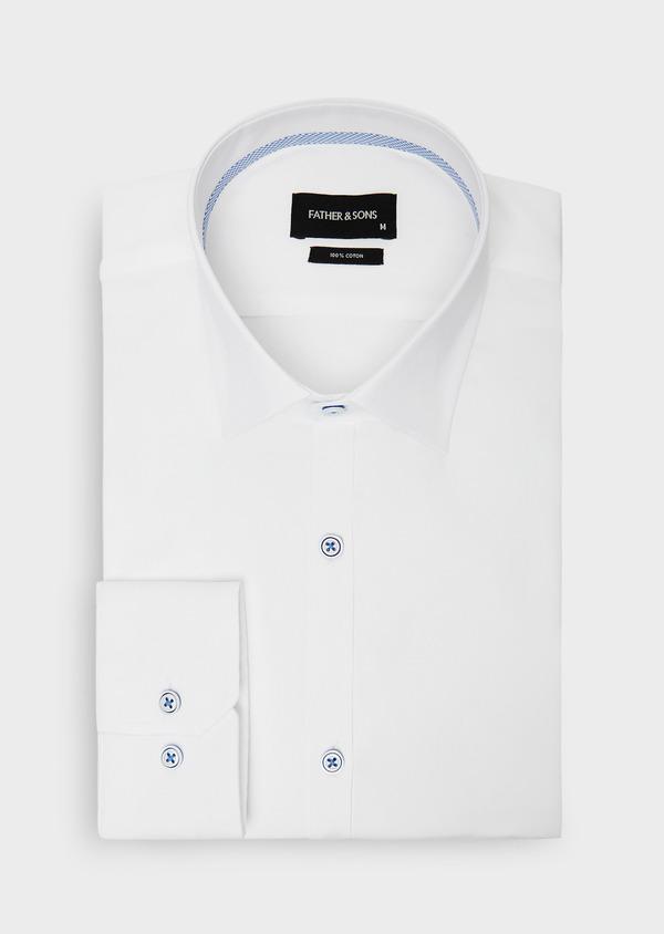 Chemise habillée Slim en coton façonné à rayures diagonales ton sur ton - Father and Sons 38564