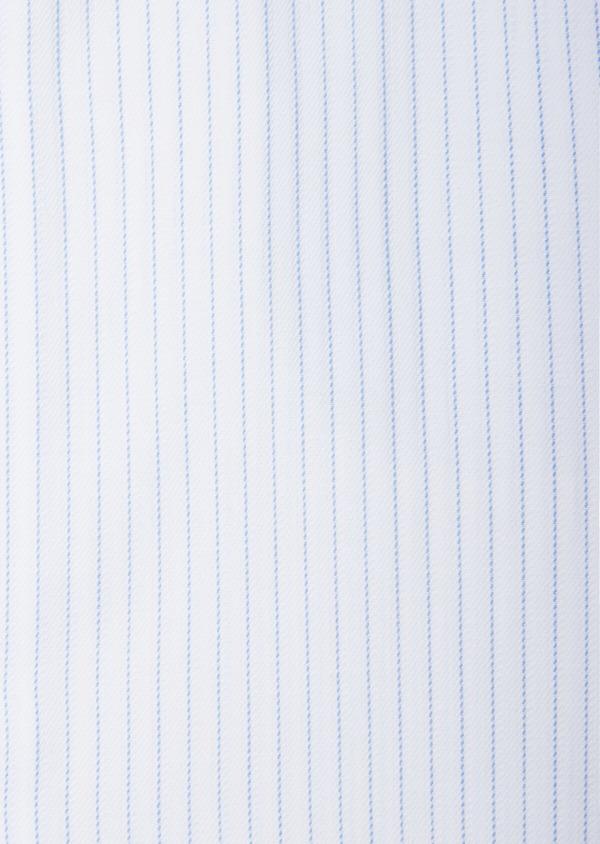 Chemise habillée Slim en coton façonné blanc à fines rayures bleues - Father and Sons 38569