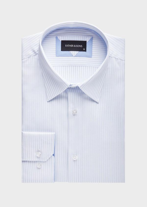 Chemise habillée Slim en coton façonné blanc à fines rayures bleues - Father and Sons 38568