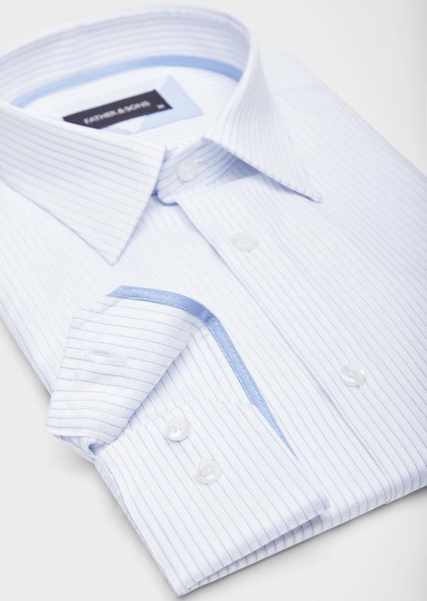 Chemise habillée Slim en coton façonné blanc à fines rayures bleues - Father and Sons 38571