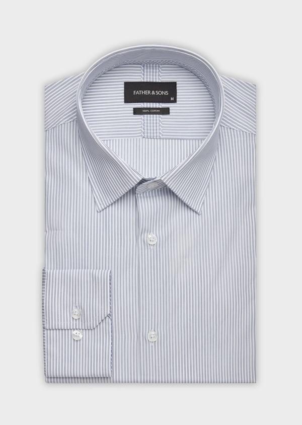 Chemise habillée Slim en popeline de coton blanc à rayures - Father and Sons 38363