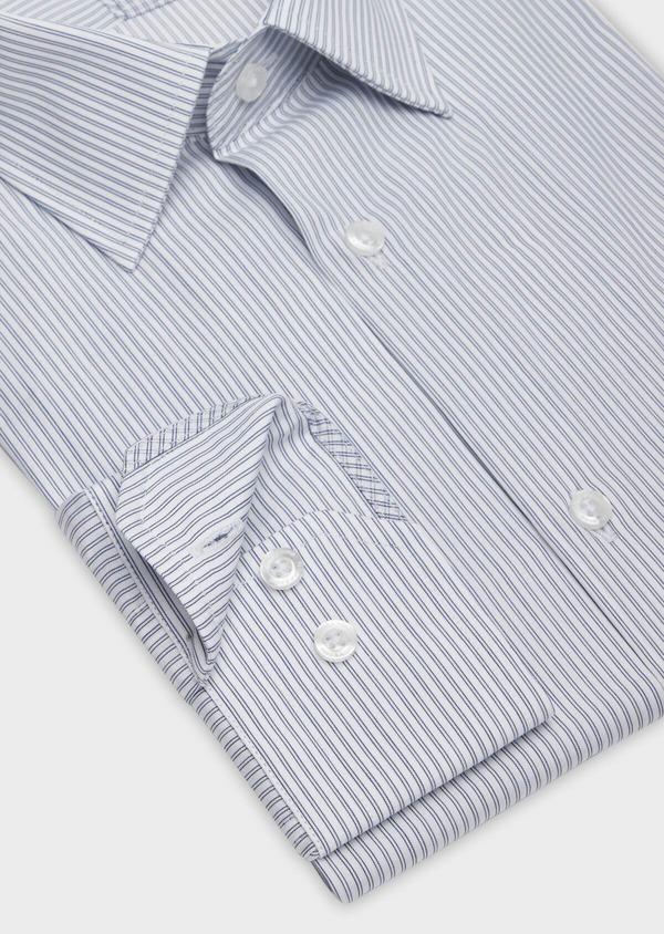 Chemise habillée Slim en popeline de coton blanc à rayures - Father and Sons 38366