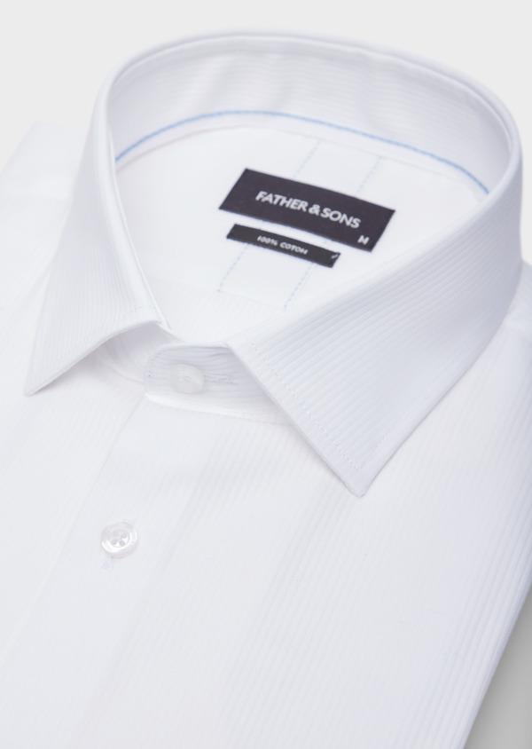 Chemise habillée Slim en coton façonné blanc à fines rayures ton sur ton - Father and Sons 38578