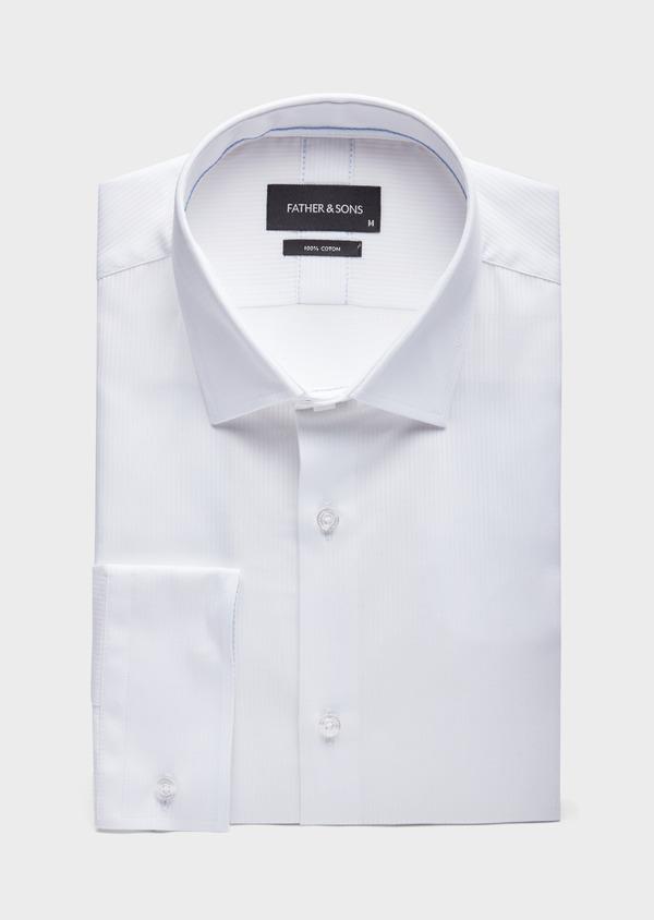 Chemise habillée Slim en coton façonné blanc à fines rayures ton sur ton - Father and Sons 38576