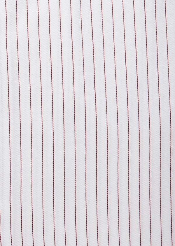 Chemise habillée Slim en popeline de coton blanc à fines rayures bordeaux - Father and Sons 38404