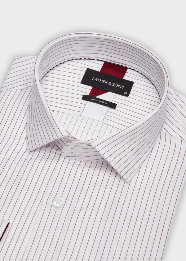 Chemise habillée Slim en popeline de coton blanc à fines rayures bordeaux - Father and Sons 38405