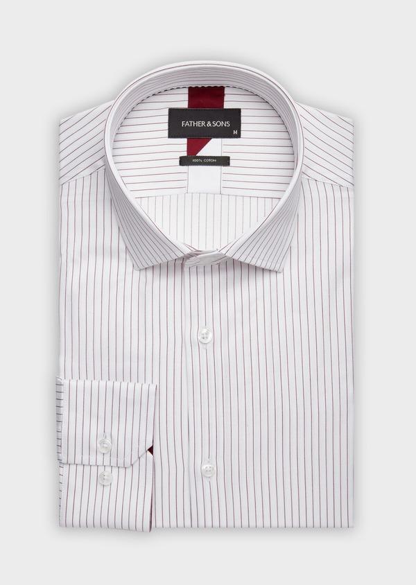 Chemise habillée Slim en popeline de coton blanc à fines rayures bordeaux - Father and Sons 38403