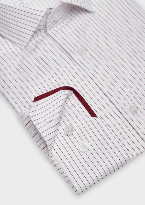 Chemise habillée Slim en popeline de coton blanc à fines rayures bordeaux - Father and Sons 38406