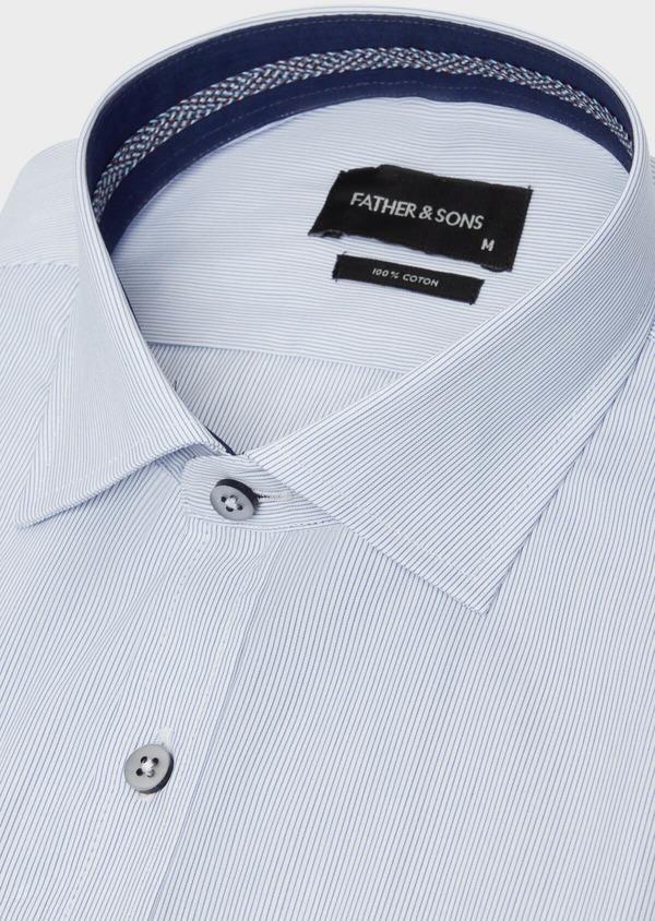 Chemise habillée Slim en popeline de coton à rayures bleues - Father and Sons 38305