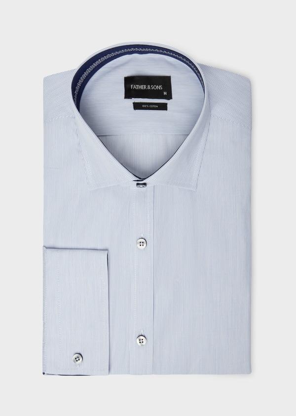 Chemise habillée Slim en popeline de coton à rayures bleues - Father and Sons 38303
