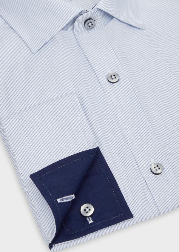 Chemise habillée Slim en popeline de coton à rayures bleues - Father and Sons 38306
