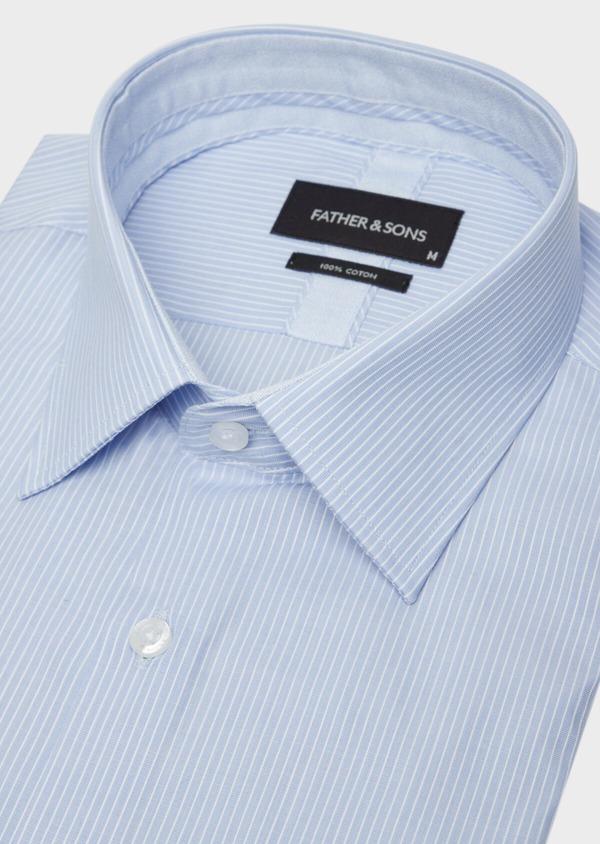 Chemise habillée Slim en popeline de coton à rayures bleues - Father and Sons 38393