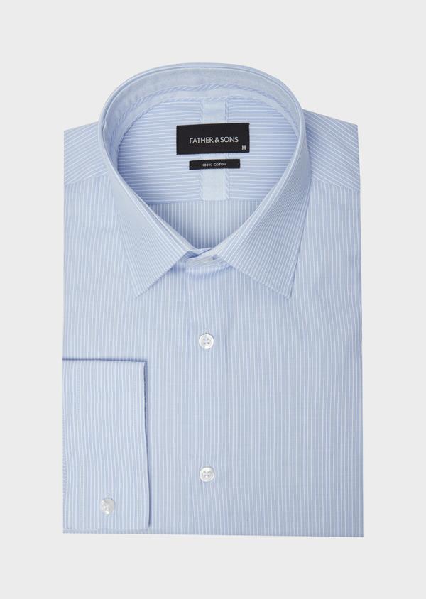 Chemise habillée Slim en popeline de coton à rayures bleues - Father and Sons 38391