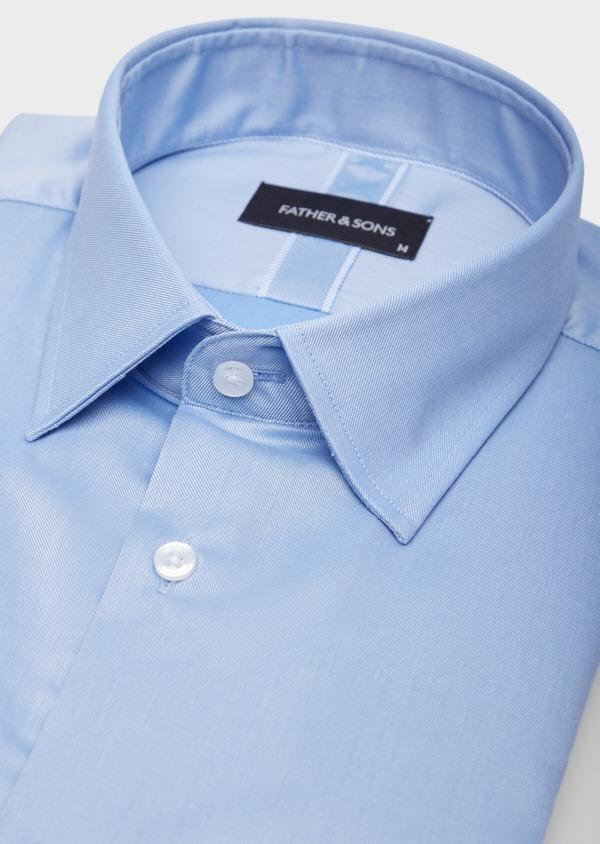 Chemise habillée Slim en coton façonné uni bleu azur - Father and Sons 38594