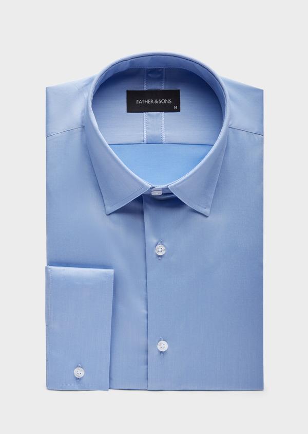 Chemise habillée Slim en coton façonné uni bleu azur - Father and Sons 38592