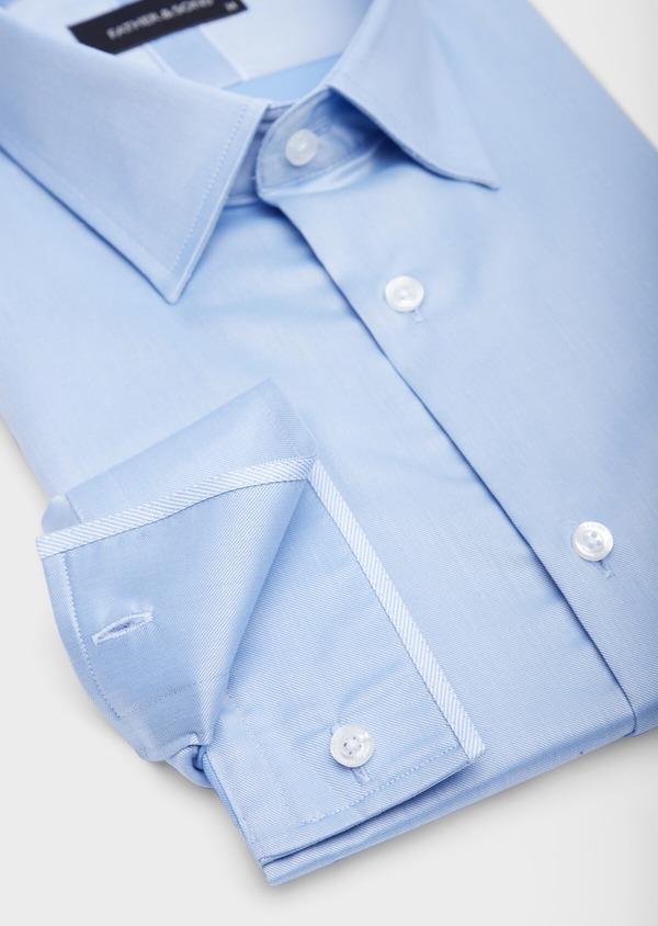 Chemise habillée Slim en coton façonné uni bleu azur - Father and Sons 38595