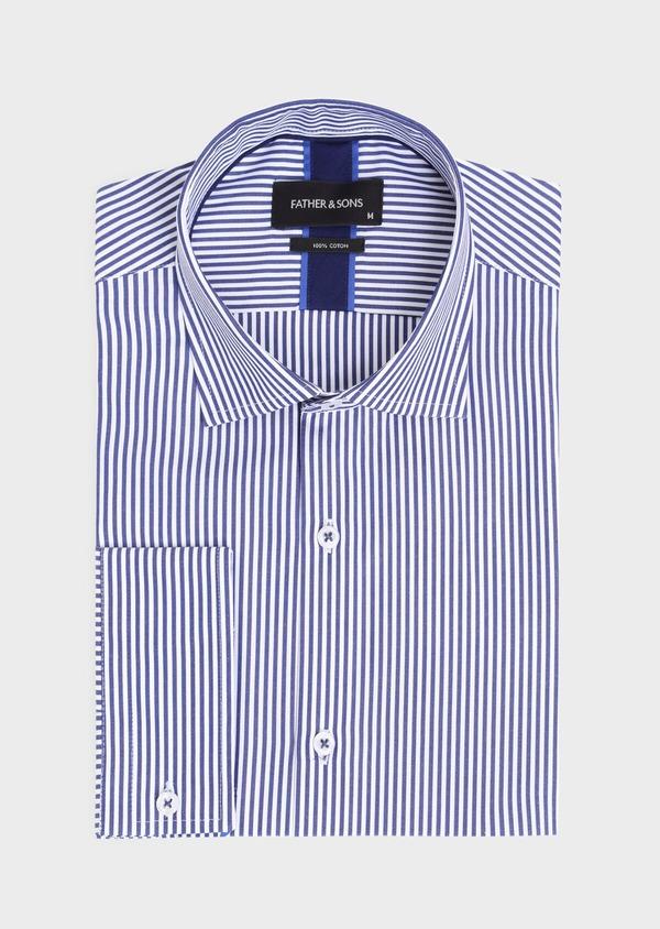 Chemise habillée Slim en popeline de coton à rayures blanches et bleues - Father and Sons 34892