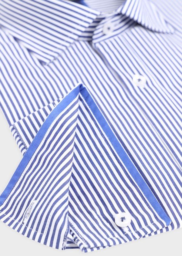 Chemise habillée Slim en popeline de coton à rayures blanches et bleues - Father and Sons 34895